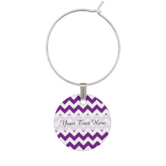 Purple White Zigzag Stripes Chevron Pattern Wine Charm