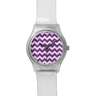 Purple White Zigzag Stripes Chevron Pattern Wrist Watch