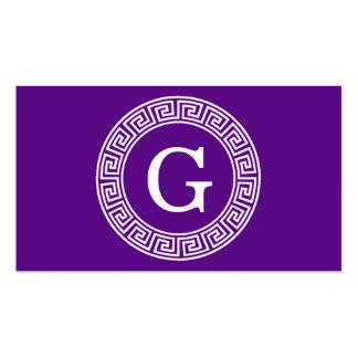 Purple Wht Greek Key Rnd Frame Initial Monogram Pack Of Standard Business Cards
