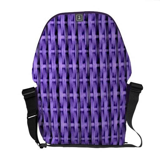 Purple wicker art graphic design courier bag
