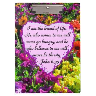 PURPLE WILD FLOWER JOHN 6:35 DESIGN CLIPBOARDS