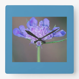 Purple wild flower square wall clock