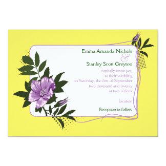 Purple wild rose yellow floral wedding invitation