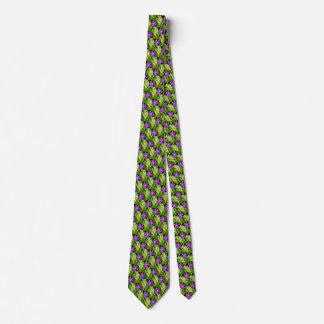 Purple Wildflower Green Leaves Men's Tie