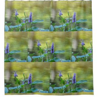 Purple Wildflowers By Pond Shower Curtain