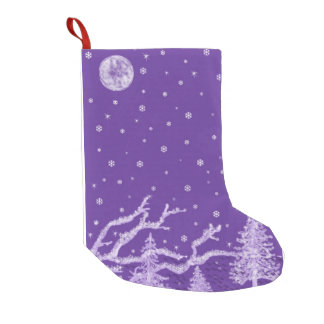 Purple Winter Small Christmas Stocking