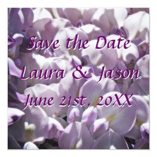 """Purple Wisteri Petals """"Save the Date""""  Square Card 13 Cm X 13 Cm Square Invitation Card"""