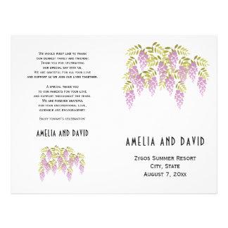 Purple wisteria floral folded wedding program flyer