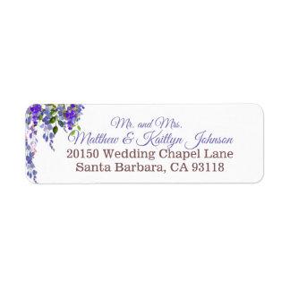 Purple Wisteria Floral Modern Wedding Label