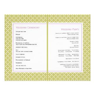 Purple wisteria, green pattern wedding program flyer