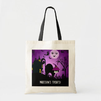 Purple Witch Black Cat Trick or Treat Tote Bag