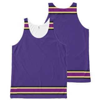 Purple with Black Gold and Purple Trim All-Over Print Singlet