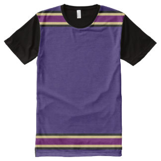 Purple with Black Gold and Purple Trim All-Over Print T-Shirt