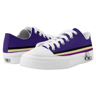 Purple with Black Gold and Purple Trim Lo-Top Printed Shoes