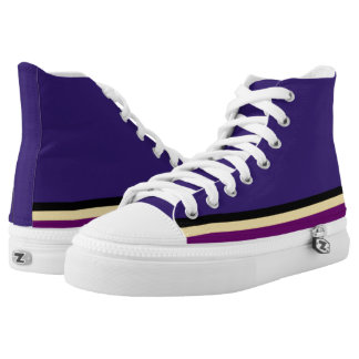 Purple with Black Gold & Purple Trim Hi-Top Printed Shoes