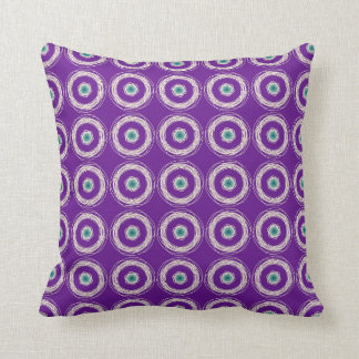 Purple with Cream and Green Circle Design Cushion