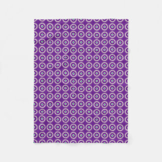 Purple with Cream and Green Circle Design Throw Fleece Blanket