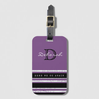 purple with stripes, feminine & monogrammed travel luggage tag