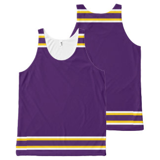 Purple with White and Gold Trim All-Over Print Singlet