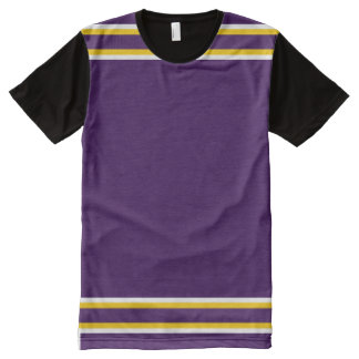Purple with White and Gold Trim All-Over Print T-Shirt