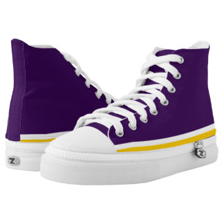 Purple with White and Gold Trim Hi-Top Printed Shoes
