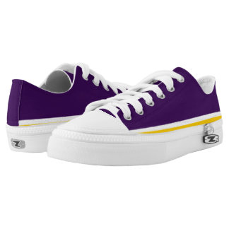 Purple with White and Gold Trim Lo-Top Printed Shoes
