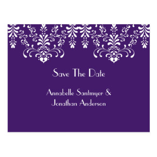 Purple with White Floral Swirls Save The Date Postcard
