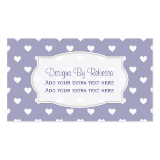 Purple With White Heart Business Cards