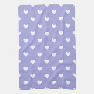 Purple With White Hearts Kitchen Towel