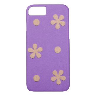 Purple with Yellow Flowers and Dots Design iPhone 7 Case