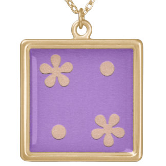 Purple with Yellow Flowers and Dots Design Square Pendant Necklace