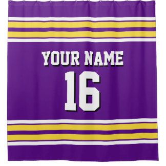 Purple with Yellow White Stripes Sports Jersey Shower Curtain
