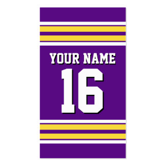 Purple with Yellow White Stripes Team Jersey Pack Of Standard Business Cards