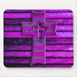 Purple Wooden Cross Mouse Pads