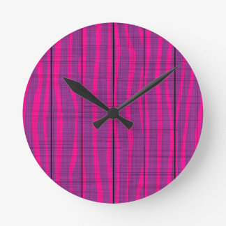 Purple Wooden Grunge Background Round Clock