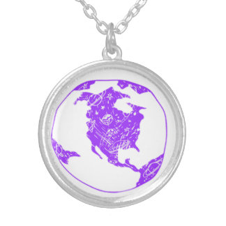 purple world silver plated necklace