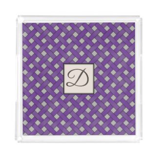 Purple Woven Rattan on Custom Colour with Monogram Acrylic Tray