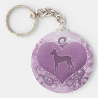 Purple Xoloitzcuintli Valentine Basic Round Button Key Ring