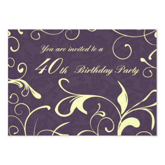 Purple Yellow 40th Birthday Party Invitation Cards