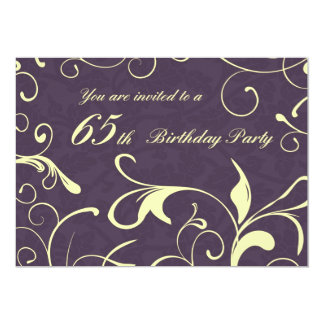 Purple Yellow 65th Birthday Party Invitation Cards