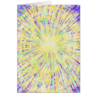Purple Yellow Aqua Star Abstract Art Design Card