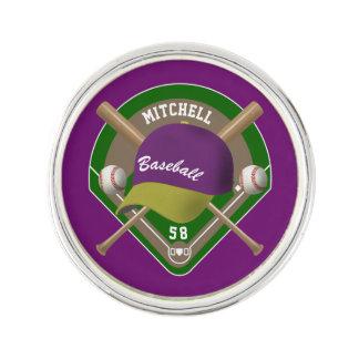 Purple |Yellow Baseball Diamond Player Name Number Lapel Pin