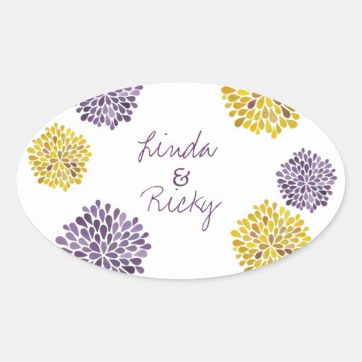 Purple & Yellow Bloom Bursts Wedding Sticker Seal