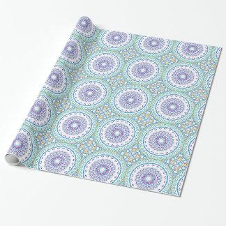 Purple, Yellow & Blue Kaleidoscope Flowers Design Gift Wrap