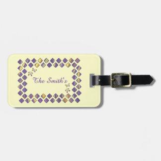 Purple Yellow Diamonds Butterflies Luggage Tags