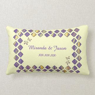 Purple Yellow Diamonds Butterflies Pillows