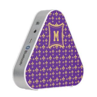 Purple Yellow Fleur de Lis Bluetooth Speaker
