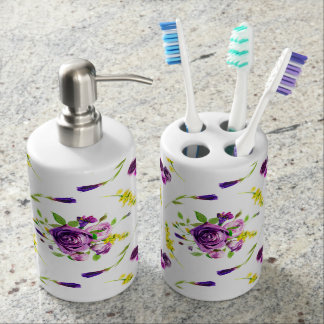 Purple Yellow floral bathroom decor accessories Bathroom Set