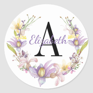Purple & Yellow Floral Watercolor Wreath Monogram Classic Round Sticker