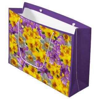 Purple Yellow Flowers on Gift Bag